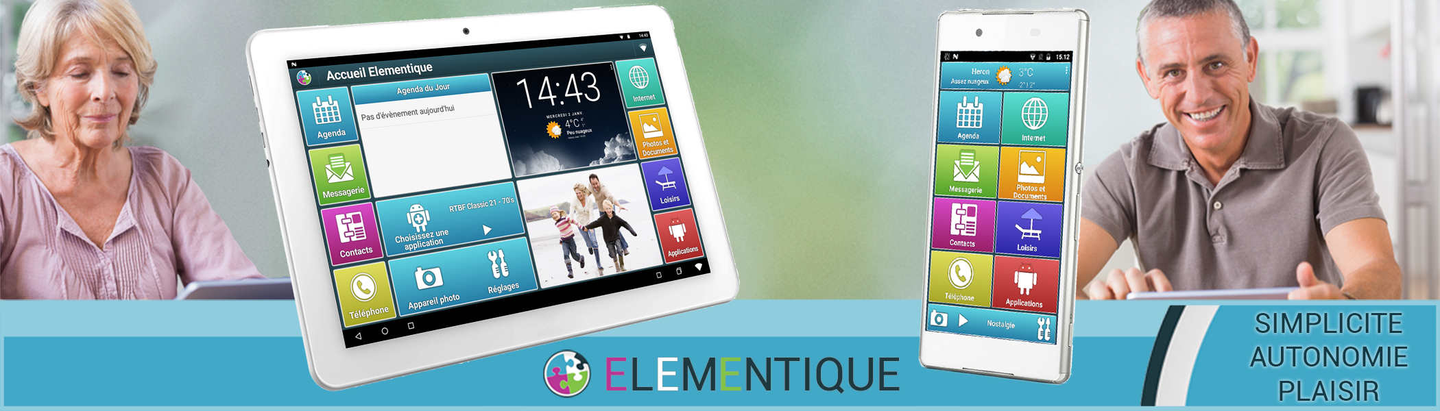 Tablette senior et smartphone senior Elementique